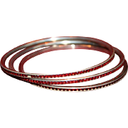 Art Deco Silver and Ruby French Paste Bangle Bracelet