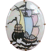 Victorian 19th C. Pastel Hand-Painted Porcelain Sailing Vessel Brooch Pin