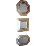 Set of Three Fabulous Vintage Hand-Crafted Brass MIrrors