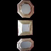 Set of Three Vintage Brass MIrrors