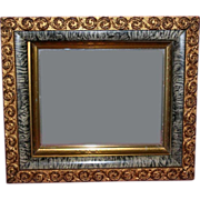 19th Century Gold & Gray Faux Marble Shadowbox Antique Mirror