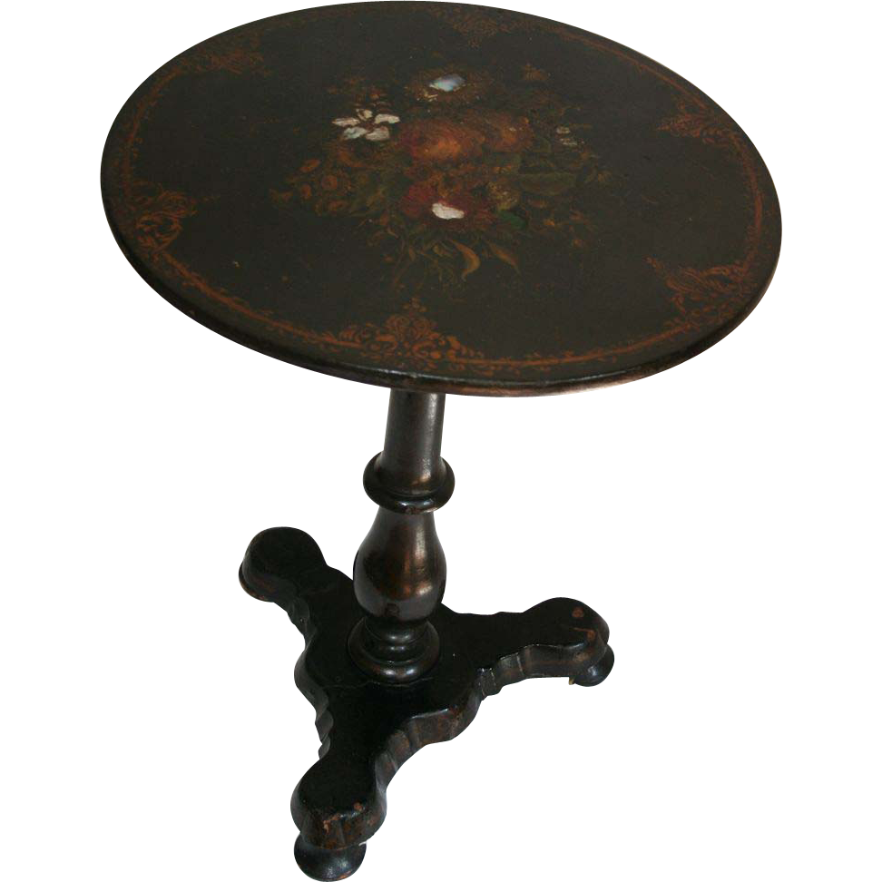 1850u0027s Papier Mache And Mother Of Pearl Inlaid Tilt Top Table