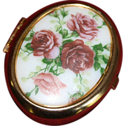 Vintage Rose Porcelain and Brass Oval Trinket Box