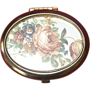 Vintage Oval Box With Flowers Hand-Painted On Mirror