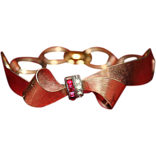 1940's Signed Gaylord Bow Bracelet with Ruby and Clear Stones