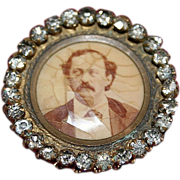 Victorian French Paste Gentleman Sepia Portrait Pin