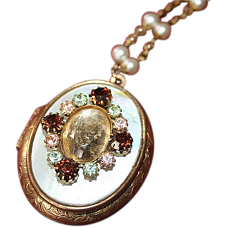Vintage Mother of Pearl and Brass Semi-Precious Oval Locket