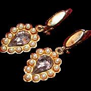 Vintage Light Amethyst and Pearl Teardrop Earrings