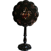 19th Century Papier Mache & Mother of Pearl Tilt Top Table