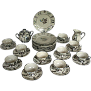 Vintage Hallmarked Stolzenfels Hand-Painted Porcelain Butterfly Tea Set, Service for Ten