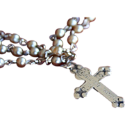 1940's Vintage Occupied Japan Pearl Rosary Cross