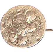 19th Century Victorian Gold Round Etched Floral Lapel Pin
