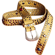 Vintage Yellow 1980's Urban Cowboy Studded Belt