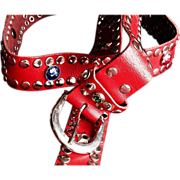 1980's Red Vintage Studded Urban Cowboy Belt