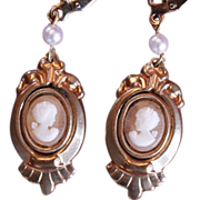 Beautiful Vintage Cameo and Pearl Drop Earrings
