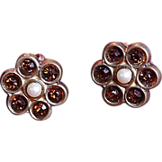 Vintage Topaz and Pearl Flower Post-Back Earrings