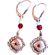 Vintage Ruby and Pearl Crest Drop Earrings