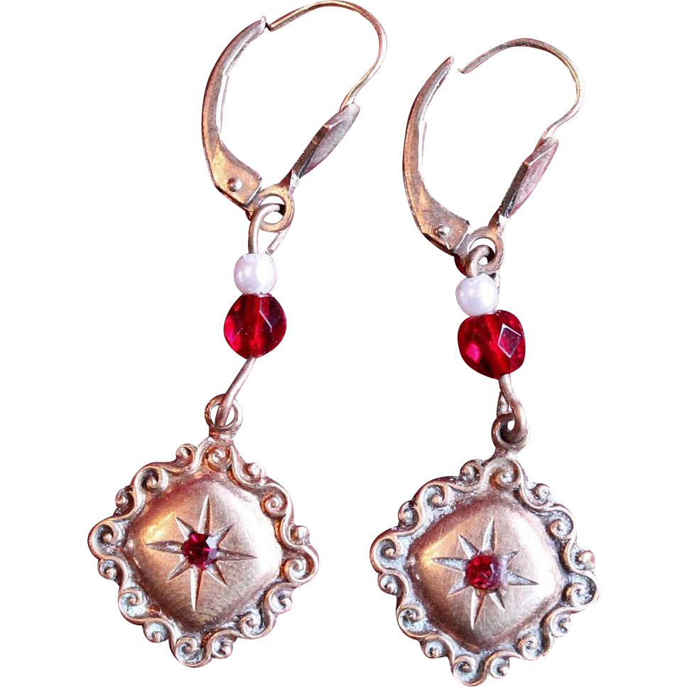 Vintage Ruby and Pearl Crest Drop Earrings from ...