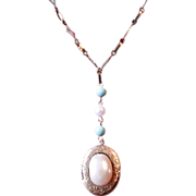 Vintage Oval Locket with Pearl and Turquoise Stones on Chain