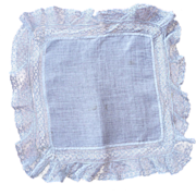 Antique Victorian Wedding Handkerchief Circa 1880