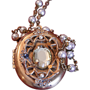 Vintage Semi-Precious Oval Locket on Pearl Chain