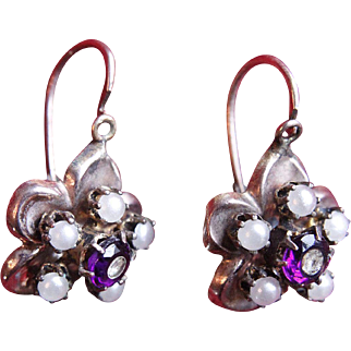 19th C. Antique Victorian Gold-Filled Amethyst and Pearl European Drop Earrings