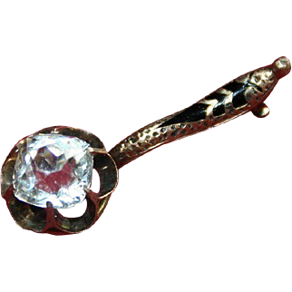 Gold-Filled and White Sapphire D'Epargne Enamel Brooch Pin