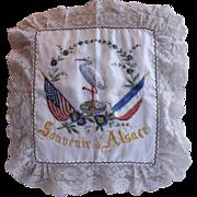 French Antique Silk Pillow Sham - World War I Souvenir d'Alsace