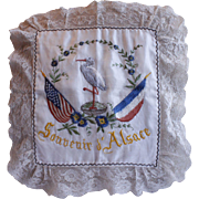 World War I Souvenir d'Alsace Silk Pillow Sham