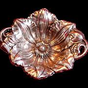 Fabulous Antique Art Nouveau Sterling Clematis Flower  Dish