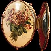 Victorian Paul de Longpre' Signed Violets Celluloid Trifold Dresser Mirror