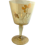 Turn of the Century Art Nouveau Gold Iridescent Ice Bucket/Punch Bowl with Overlay Gold Leaves