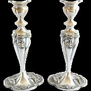 Pair Art Nouveau Quadruple Silver Plate Candlesticks C.1910
