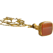 Victorian Gold-Filled Carnelian Watch Fob on Chain