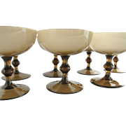 Vintage Italian Murano Glass Champagne Coupes, Set of 8