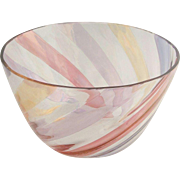 Vintage Crystal Rainbow Striped Serving Bowl