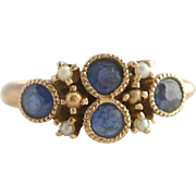 Adorable 14K Sapphire and Seed Pearl Edwardian Ring C. 1901