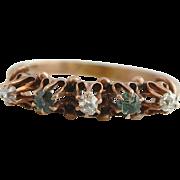 Antique 10K Edwardian Green Garnet and Diamond Ring