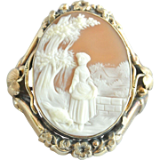 Antique 19th Century Victorian Gold-Filled Cameo Brooch Pin
