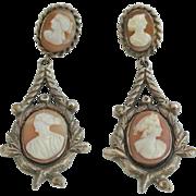 Gold-Filled Antique Art Nouveau Cameo Earrings