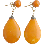 Butterscotch Amber/Bakelite Vintage Drop Earrings