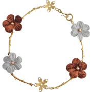 Vintage Handmade Flower Choker Necklace with Pearls