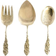 Amston Gladstone Heavy Vintage Sterling Silver 3-Piece Serving Set