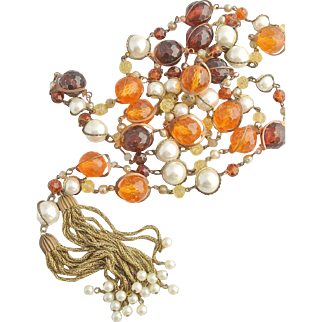 Vintage Amber and Pearl Lariat with Brass Tassels