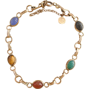 Vintage 1960's Gold Filled D'Or Semi-Precious Scarab Bracelet