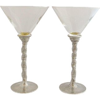 Pair of Vintage Craft 1960's Pewter and Crystal Martini Glasses
