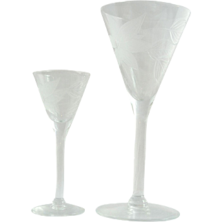 Vintage 1900's Etched Crystal Wine and Aperitif Stemware/S18