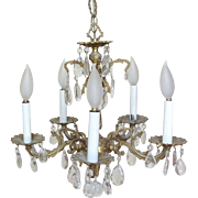 Fabulous Vintage Brass and Crystal Chandelier