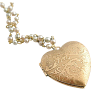 Vintage Embossed Heart Locket on Pastel Pearl Chain