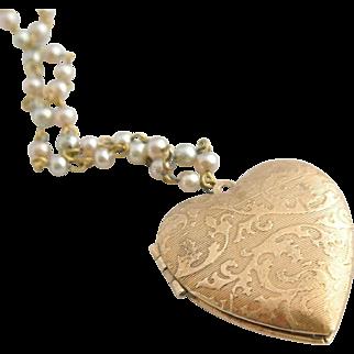 Vintage Embossed Heart Locket on Pastel Pearl Chain